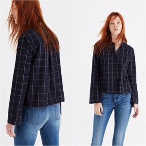Madewell bell sleeve shirt in windowpane
